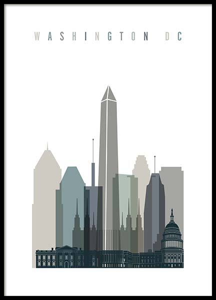 Washington Dc Skyline Poster in the group Prints / Maps & cities at Desenio AB (2352)