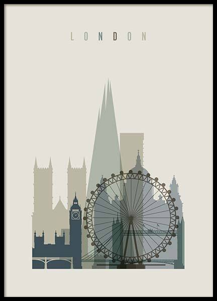 London Skyline Poster in the group Prints / Maps & cities at Desenio AB (2356)