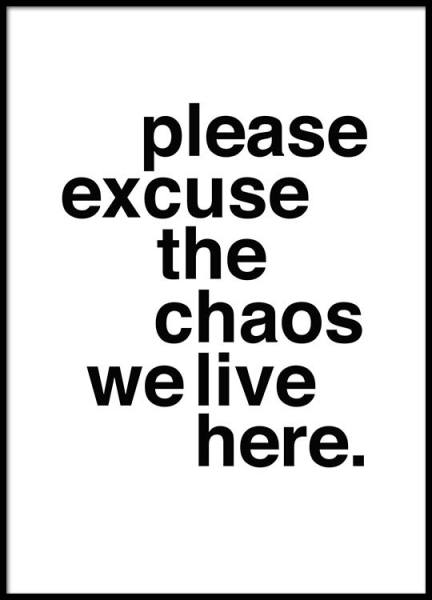 Please Excuse The Chaos Poster in the group Prints / Typography & quotes at Desenio AB (2479)