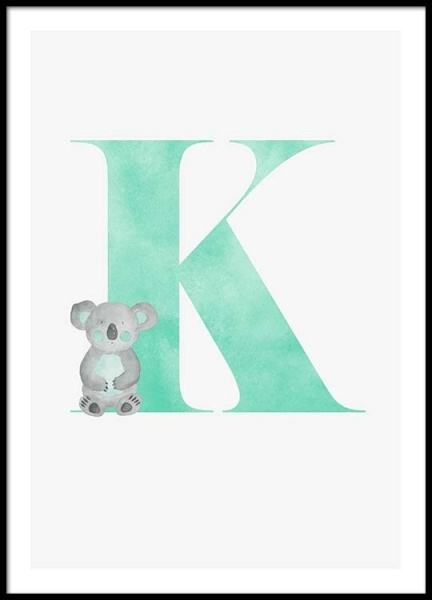 Alphabet K Poster in the group Prints / Kids posters at Desenio AB (2503)