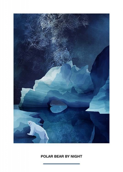 Polar Bear by Night Poster in the group Prints / Sizes / 50x70cm | 20x28 at Desenio AB (2524)