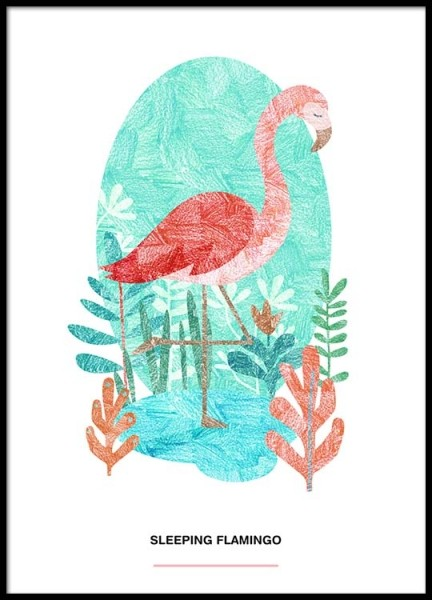 Sleeping Flamingo Poster in the group Prints / Illustrations at Desenio AB (2526)