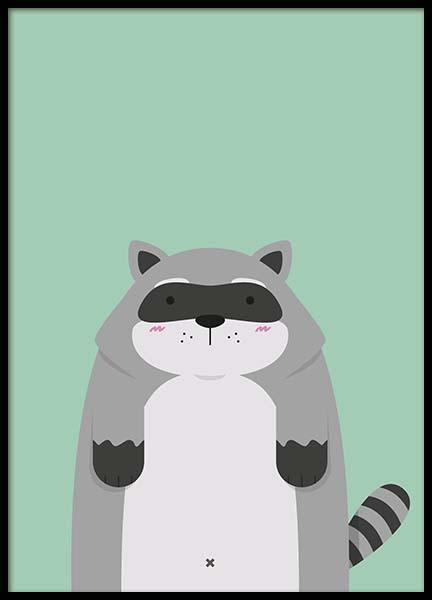 Raccoon Poster in the group Prints / Sizes /  at Desenio AB (2568)