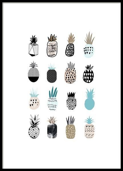 Cute Pineapples Poster in the group Prints / Illustrations at Desenio AB (2576)