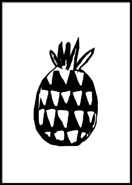 Pineapple Three Poster in the group Prints / Black & white at Desenio AB (2579)
