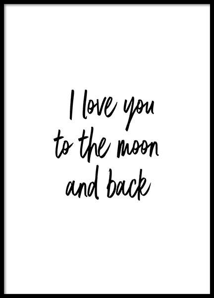 To The Moon And Back Poster in the group Prints / Text posters at Desenio AB (2604)