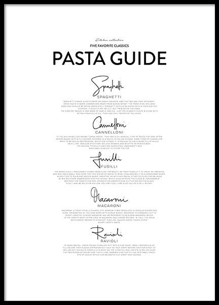 Five Pasta Classics Poster in the group Prints / Sizes / 50x70cm | 20x28 at Desenio AB (2655)
