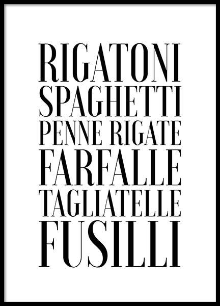 Pasta Poster in the group Prints / Typography & quotes at Desenio AB (2656)