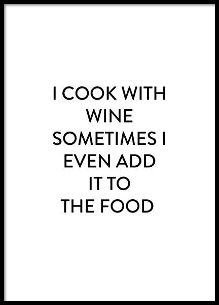 Cook With Wine Poster in the group Prints / Kitchen at Desenio AB (2659)