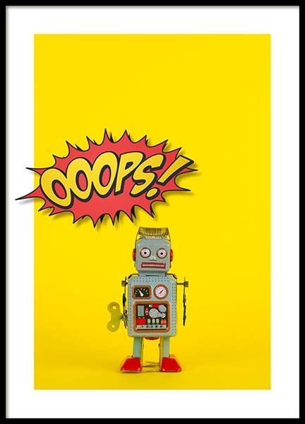 Ooops Robot Poster in the group Prints / Kids wall art at Desenio AB (2692)
