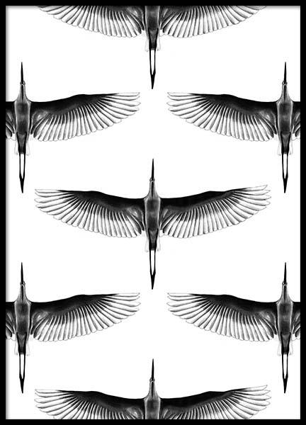 Crane Pattern Poster in the group Prints / Sizes / 50x70cm | 20x28 at Desenio AB (2740)