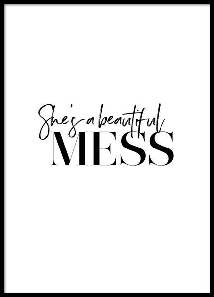 Beautiful Mess Poster in the group Prints / Typography & quotes at Desenio AB (2777)