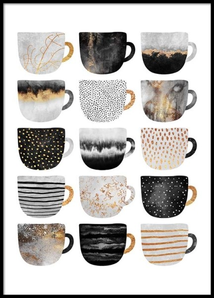 Coffee Cups Poster in the group Prints / Kitchen at Desenio AB (2804)