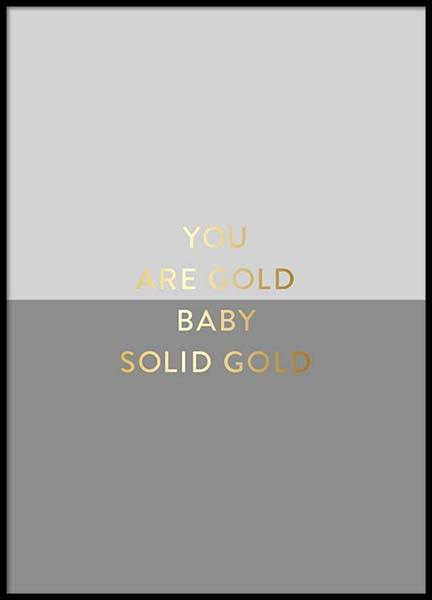 You Are Gold Gray Poster in the group Prints / Typography & quotes at Desenio AB (2850)