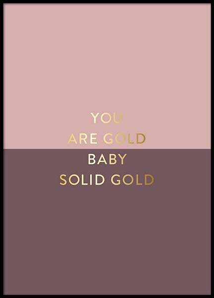 You Are Gold Pink Poster in the group Prints / Typography & quotes at Desenio AB (2851)