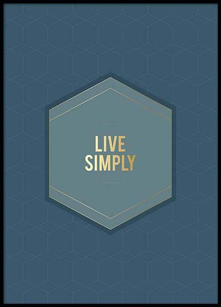 Live Simply Blue Pattern Poster in the group Prints / Typography & quotes at Desenio AB (2854)