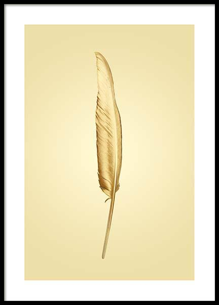 Golden Feather Poster in the group Prints / Gold & silver at Desenio AB (2859)