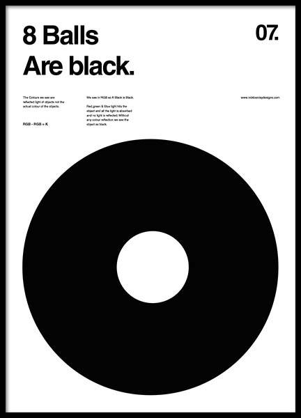 8 balls are black Poster in the group Prints / Sizes / 50x70cm | 20x28 at Desenio AB (2988)