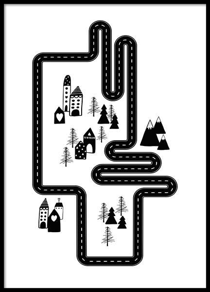 Car Track City Poster in the group Prints / Kids at Desenio AB (3118)