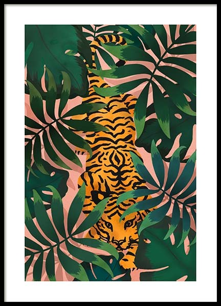 Tiger In Jungle Poster in the group Prints / Illustrations at Desenio AB (3147)