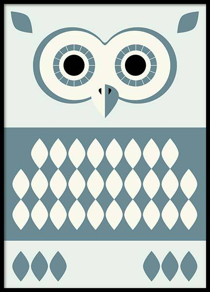 Owl Blue Poster in the group Prints / Sizes / 50x70cm | 20x28 at Desenio AB (3176)