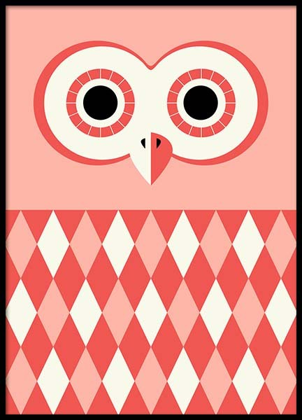 Owl Red Poster in the group Prints / Kids posters at Desenio AB (3177)