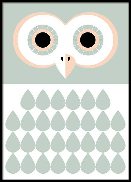 Owl Green Poster in the group Prints / Kids posters at Desenio AB (3178)