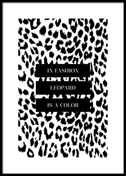 In Fashion Leopard Is A Color Poster in the group Prints / Typography & quotes at Desenio AB (3180)