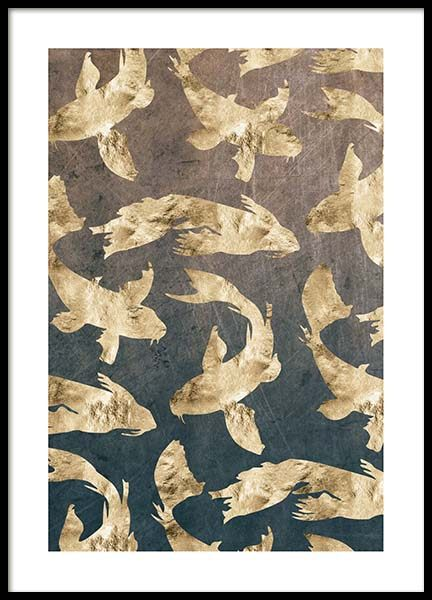 Golden Fishes Pattern Poster in the group Prints / Graphical at Desenio AB (3183)