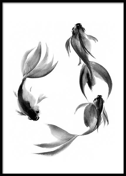 Watercolor Fish Circle Poster in the group Prints / Black & white at Desenio AB (3189)