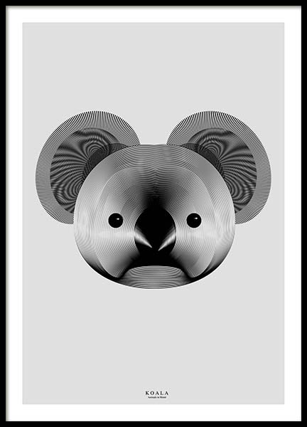 Koala In Moiré Poster in the group Prints / Graphical at Desenio AB (3217)