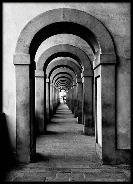 Arched Passageway Poster in the group Prints / Black & white at Desenio AB (3293)