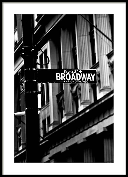 Broadway Poster in the group Prints / Black & white at Desenio AB (3295)