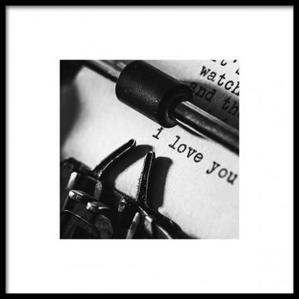 I Love You Typewriter Poster in the group Prints / Sizes / 50x50cm | 20x20 at Desenio AB (3334)