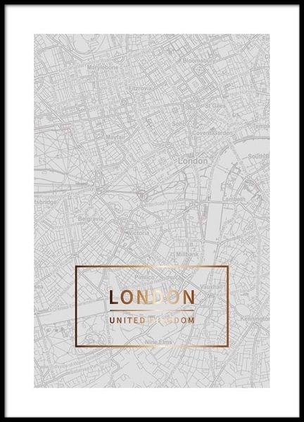 London Gold Poster in the group Prints / Maps & cities at Desenio AB (3351)