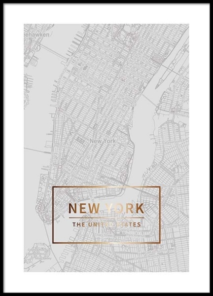 New York Gold Poster in the group Prints / Maps & cities at Desenio AB (3352)