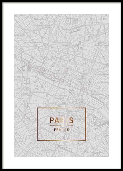 Paris Gold Poster in the group Prints / Maps & cities at Desenio AB (3353)