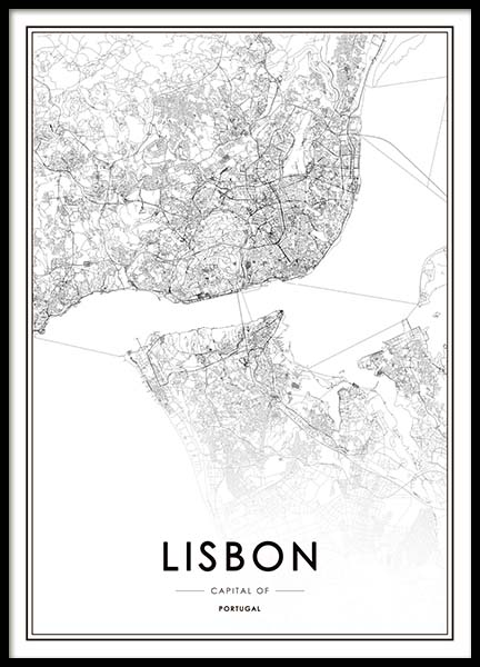 Lisbon Map Poster in the group Prints / Maps & cities at Desenio AB (3354)