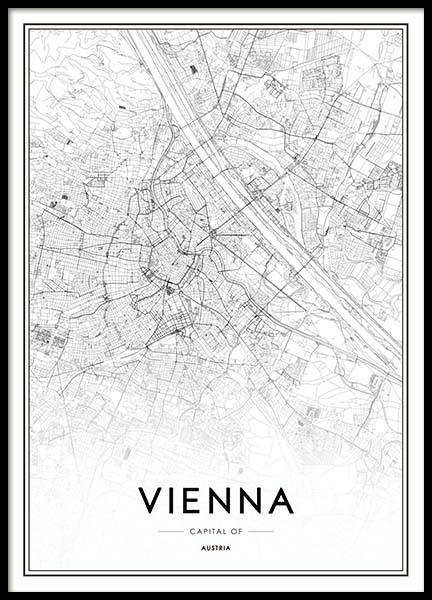 Vienna Map Poster in the group Prints / Maps & cities at Desenio AB (3355)
