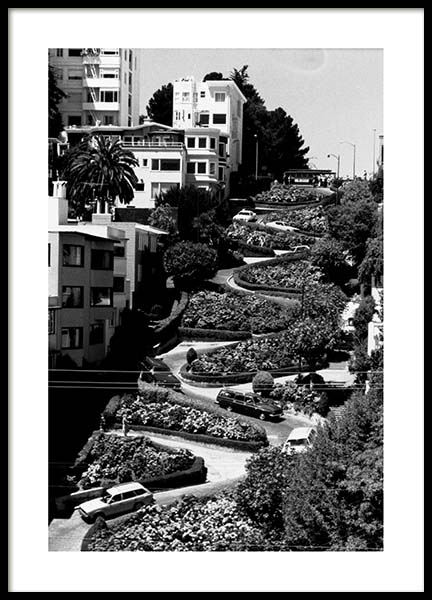 Lombard Street Poster in the group Prints / Black & white at Desenio AB (3362)