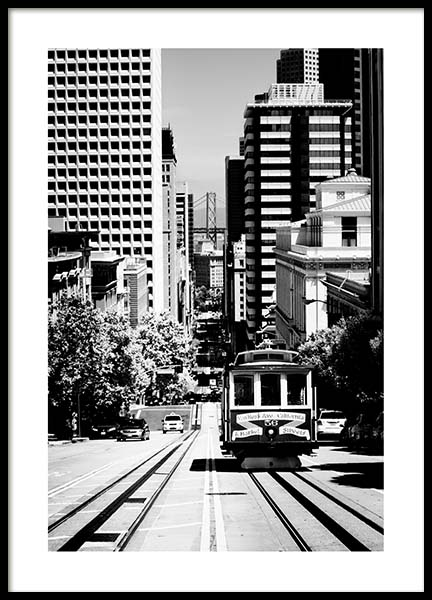 Steep Street San Francisco Poster in the group Prints / Black & white at Desenio AB (3363)