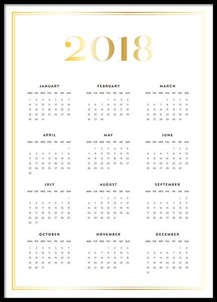 Calendar 2018 Gold Poster in the group Prints / Calendars 2018 at Desenio AB (3410)