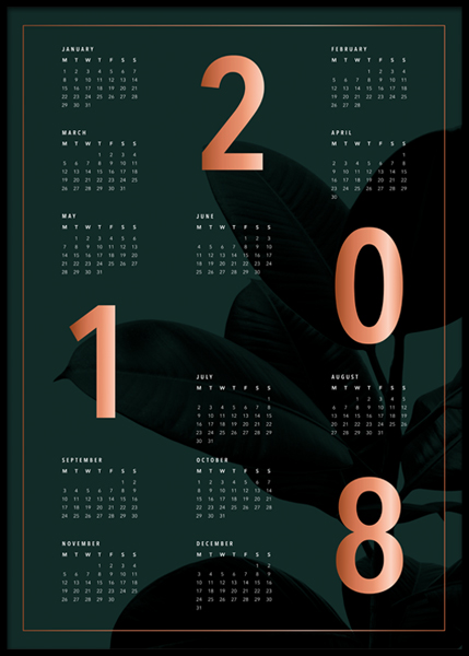 Calendar 2018 Green Poster in the group Prints / Calendars 2018 at Desenio AB (3412)
