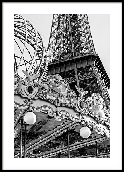Carousel Et Eiffel Poster in the group Prints / Maps & cities / European cities at Desenio AB (3428)