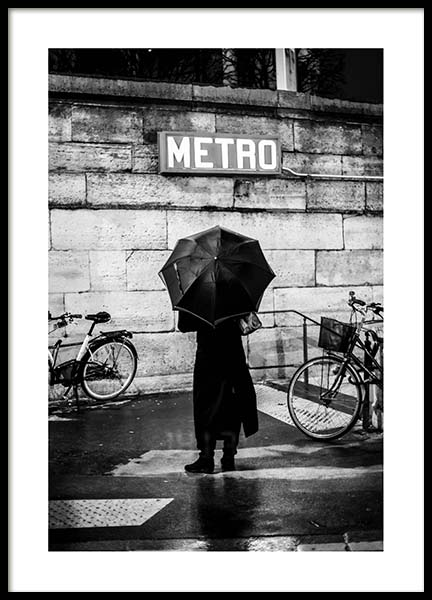 Lady At Metro Poster in the group Prints / Black & white at Desenio AB (3430)