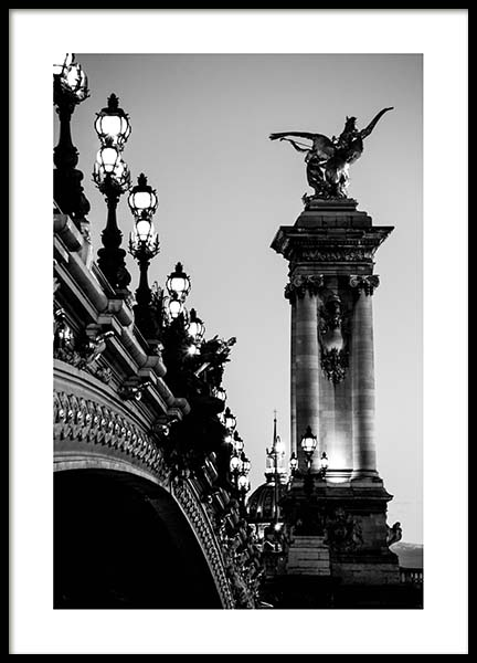 Pont Alexandre Iii Poster in the group Prints / Black & white at Desenio AB (3437)
