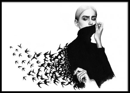 Maria And The Birds Poster in the group Prints / Illustrations at Desenio AB (3452)