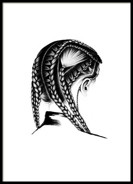 Braids Poster in the group Prints / Black & white at Desenio AB (3551)