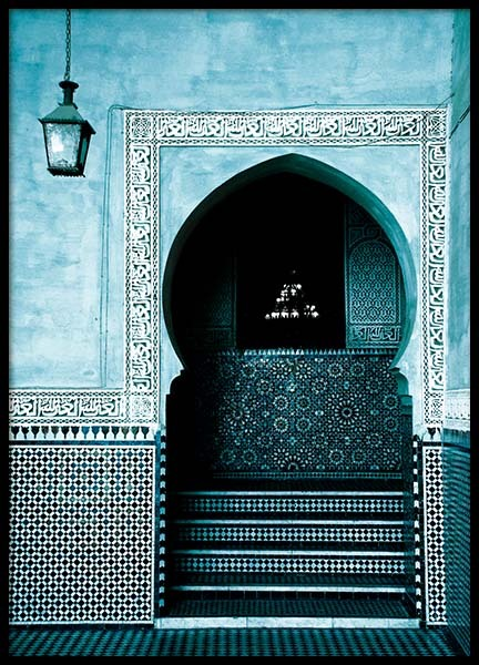 Blue Arabesque Arch Poster in the group Prints / Sizes / 50x70cm | 20x28 at Desenio AB (3558)