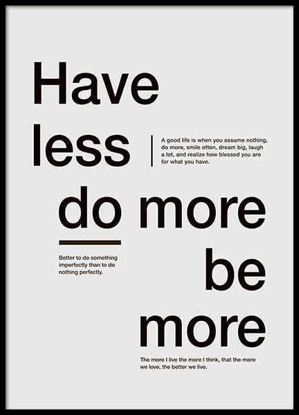 Be More Poster in the group Prints / Typography & quotes at Desenio AB (3607)